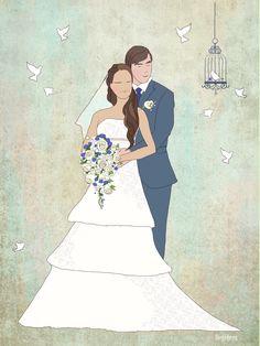 CUSTOM WEDDING PORTRAIT wedding present Custom by Digibees on Etsy