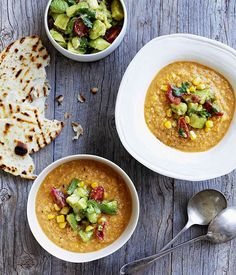 Mexican corn soup with crushed avocado - Use a veggie stock for #vegan yum!     |     Organize and save your favourite recipes OFFLINE on your iPhone or iPad with @RecipeTin! Find out more here: www.recipetinapp.com      #recipes #vegan