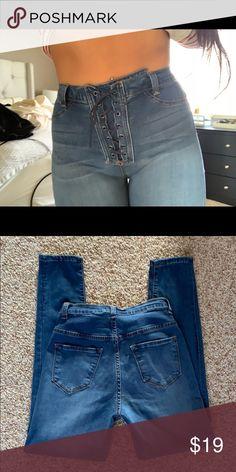 161982c39b See more. Fashion nova denim skinny jeans lace up Super cute super  flattering and super stretchy! Fashion