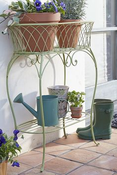 Oval Plant Stand - Green - Outdoor Patio And Backyard Ideas