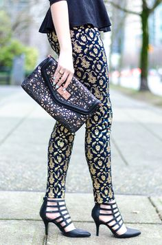 If you're not rocking brocade yet, it's time. These pants are just killer paired with fierce cage heels.