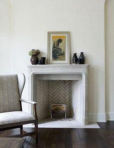 Herringbone brick for firer place