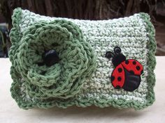 Camo Green With Ladybug Crocheted Cotton Little Bit Purse. $12.00, via Etsy.