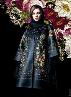 Dolce&Gabbana fall winter 2014-2015 collection floral printed leather Coat