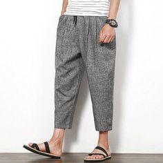 Only US$22.35 , shop Summer Cotton Linen Nine Pants Men's Solid Color Loose Casual Haren Pants at Banggood.com. Buy fashion Pants online.