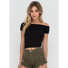 BLACK Staple Piece Off-Shoulder Crop Top ($16) ❤ liked on Polyvore featuring tops, black, stretchy tops, stretch crop top, off shoulder short sleeve top, off shoulder crop top and off the shoulder tops