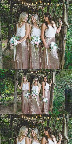 Two Piece Spaghetti Straps Bridesmaid Dresses, Shinning Gold Rose Bridesmaid Dresses,Cheap Bridesmaid Dresses, · Oktypes · Online Store Powered by Storenvy Two Piece Bridesmaid Dresses, Bridesmaid Dresses 2018, Two Piece Wedding Dress, Burgundy Bridesmaid, Bridesmaid Outfit, Wedding Bridesmaids, Dream Dress, Wedding Gowns, Wedding Venues