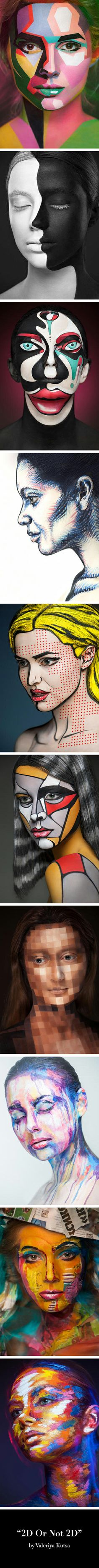 """2D Or Not 2D"" by Russian make-up artist Valeriya Kutsan. Photography by Alexander Khoklov and post-processing expert Veronica Ershova."