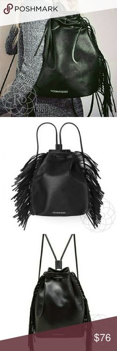 "NWOT Victoria Secret Black Backpack Beautiful NWOT Victoria's Secret 2015 Black Fashion Show Fringed Drawstring Backpack  ▪ Black Faux Leather w/ fringe  ▪ Drawstring closure system w/ backpack straps  ▪ Victoria's Secret metal branded logo  ▪ Fully lined  ▪ Height: 13.5"" inches, Length: 10.25"" inches, Depth: 6.25"" inches ⚠ All measurements are approximate  Brand New w/o Tag   ✋ All Sales Final 
