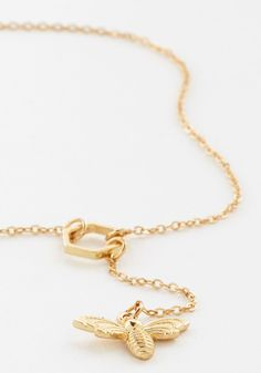 To Be or Not to Bee Necklace. Add a bit of darling drama to your ensembles with this ModCloth-exclusive necklace! #gold #modcloth