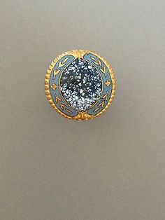 Antique French Enamel Button w A Spatter Design in Blues White Gold | eBay
