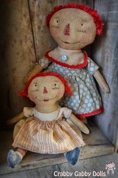 CraBBy GaBBy Dolls Primitive Doll Patterns, Stitch Doll, Raggedy Ann And Andy, Sewing Dolls, Soft Dolls, Softies, Boutique, Crafts To Make, Doll Clothes