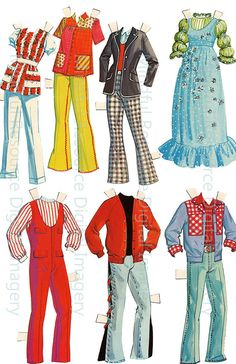 Brady Bunch Paper Dolls Vintage 70s Fashion por mindfulresource
