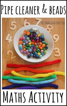 Pipe cleaner and beads counting and threading activity