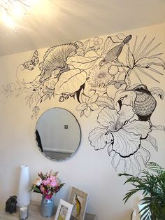 B+W tropical wall art bedroom wall, bedroom murals, bedroom decor, wall Cute Bedroom Decor, Bedroom Wall, Bedroom Murals, Tropical Wall Decor, Mural Wall Art, Wall Paintings, Art Walls, Wall Drawing, House Design