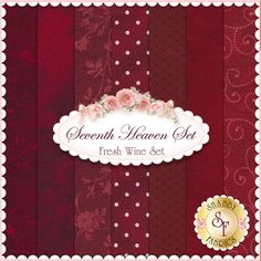 """Seventh Heaven 7 FQ Set - Fresh Wine: This Seventh Heaven Set is an exclusive Shabby Fabrics creation! We have taken the guesswork out of finding coordinating fabrics. This set contains 7 coordinating fat quarters, each measuring approximately 18"""" x 18"""""""