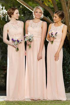 Vinatge Inspired Keyhole Back Long Chiffon Bridesmaid Dress