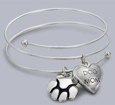 "Chloe Bangle Bracelet w/""Dog Mom & Paw"" Pet Charms Rhodium Plating - Dog Themed Jewelry"