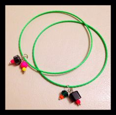 Delicate Neon Bangles with Colorful Charms on Etsy, $11.00