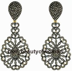 Estate Vintage 7.34cts Pave Rose Cut Diamond .925 Silver Awesome Earring Dangler #realbeautyofwoman