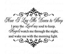 Nursery Wall Decal - Now I Lay Me Down to Sleep Bedtime Prayer Vinyl Decal - by Open Heart Creations - www.openheartcreations.com