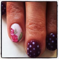 Hand painted trade mark rose by elegant nails. Plus my favourite polka dots using OPI gelcolor