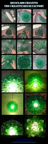 Lámpara con botellas de plástico verdes