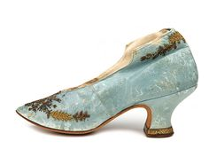 heeled blue leather high backdrop. Decorated with metal beads. France. C. 1880-1890