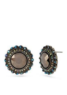 Betsey Johnson  Round Crystal Button Stud Earring