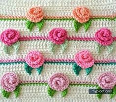 Crochet Rosebud Stitch - MyPicot | Free Crochet Stitch Patterns - https://mypicot.com/1033.html