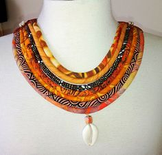 Batik and Ethnic Print cord Necklace by paintedthreads2     SOLD