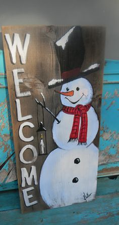 Snowman welcome wood sign hand painted front porch decor Christmas art Bill Mil. Snowman welcome wood sign hand painted front porch decor Christmas art Bill Miller of Miller's Art Cute snowman winter f. Christmas Wood Crafts, Christmas Signs Wood, Christmas Door, Holiday Crafts, Christmas Decorations, Christmas Snowman, Christmas Projects, Winter Wood Crafts, Pallet Christmas