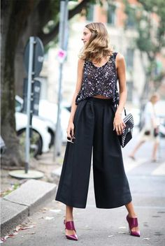 Look, streetstyle, outfit, fashion, moda, tendencia, trendy, culotte pants, calça culote, high heels, salto alto
