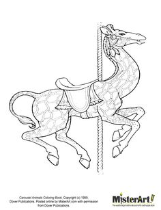 Carousel Animals Coloring Pages Abc Coloring Pages, Printable Coloring, Coloring Sheets, Coloring Books, Carosel Horse, Motifs Animal, Pretty Animals, Illustrations, Line Art