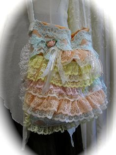 Ruffle Lace Bag, Handmade Small Shabby -Cottage Chic, Victorian Romantic Frilly Lace on Etsy, $65.00