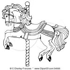Clipart Illustration Of A Black And White Pen Ink Drawing Muscular Victorian Horse Trotting To The Right By C Charley Franzwa