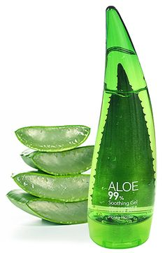 Holika Holika Aloe 99% Soothing Gel is my favorite aloe. The packaging is very cute, and the product within moisturizes and absorbs into the skin quickly! Aloe also heals burns and helps to fade scars. :)