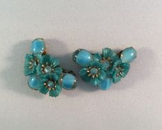 Unique Coro vintage Floral, Rhinestone and Cabochon Earrings