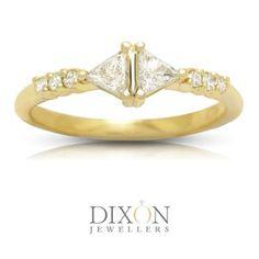 Custom Double Triangle Diamond Ring in Yellow Gold Alternative Bride, Diamond Engagement Rings, Triangle, Jewels, Yellow, Gold, Jewerly, Gemstones, Diamond Engagement Ring