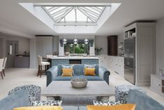 Victorian Family Home, Essex - Victorian Family Home – Classic Contemporary Open Plan Kitchen – Humphrey Munson Kitchens - Living Room And Kitchen Design, Open Plan Kitchen Dining Living, Open Plan Kitchen Diner, Kitchen Family Rooms, Open Plan Living, Home Decor Kitchen, Living Room Designs, Living Spaces, Living Area