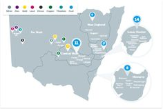 There are mines across NSW. This NSW mines map shows the NSW mines' locations. Le Far West, New England, Map, Education, Location Map, Teaching, Training, Educational Illustrations, Learning