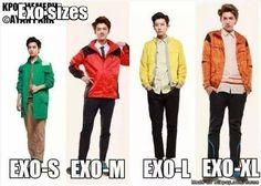 EXO sizes... LOL