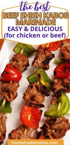 Easy marinade for beef or chicken skewers on the grill. How to make marinated meat skewers. This is one of my favorite go to easy recipes, it uses simple ingredients and works for chicken skewers as well. Simply marinade chicken or beef for an hour or two along with the vegetables add to skewers and grill. Great for easy summer meals. Shish Kabobs Marinade, Beef Shish Kabob, Meat Skewers, Chicken Skewers, Vegetarian Grilling, Healthy Grilling Recipes, Barbecue Recipes, Vegetarian Recipes, Barbecue Sauce
