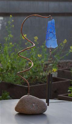 Wind Chime Suncatcher Freestanding Sea Glass Beach Glass Brass Chimes by CoastChimes on Etsy