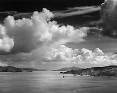 """Ansel Adams, known for Yosemite photographs, also loved the Pacitic ocean. This photograph is by Ansel Adams: """"The Golden Gate Before the Bridge, San Francisco, California"""" (ca. Printed ca. Black And White Landscape, Black N White Images, Black White, Best Photographers, Landscape Photographers, Aspen, Ansel Adams Photography, Classic Image, Mystique"""