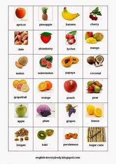 English for beginners: Fruits in English