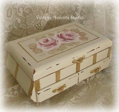 Hand Painted Wood Jewelry  Box Victorian by VintageAccentsStudio, $65.00