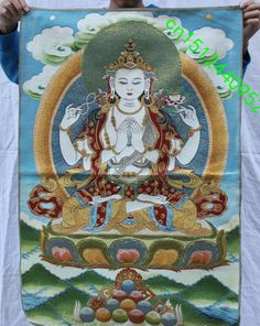 36 inch Chinese Folk Silk Satin 4 arms Chenrezig Buddha Thangka Painting Mural Cross-stitch embroidery decoration * AliExpress Affiliate's buyable pin. Details on product can be viewed on www.aliexpress.com by clicking the VISIT button