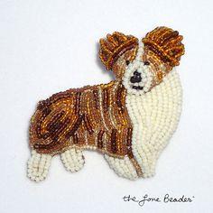 QUEEN CORGI - beaded dog pin/ pendant leather cord necklace (Ready to Ship). $125.00, via Etsy.