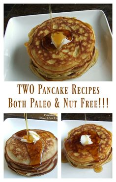 Both of these Paleo and Nut Free Pancakes are big, soft, tender, and fluffy. One is made with coconut flour and one is made with cassava and coconut flour.